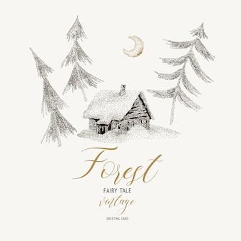 Czarno-biała karta zimowa z domem pokrytym śniegiem