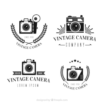 Czarno-biała kolekcja logo vintage