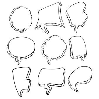 Czarno-biała kolekcja mowy bańka z doodle lub ręcznie rysowane stylu