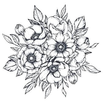 Czarno-biała kompozycja kwiatowa bukiet ręcznie rysowane kwiaty anemonowe pąki i liście