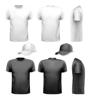 Czarno-biała koszulka męska i kubek. szablon projektu.