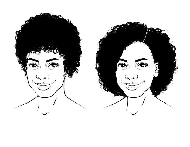 Czarno-biała liniowa ilustracja twarzy dziewczyny z kręconymi krótkimi włosami. piękna amerykanin afrykańskiego pochodzenia dziewczyna uśmiecha się. portret szczęśliwa młoda kobieta w styl szkic na białym tle
