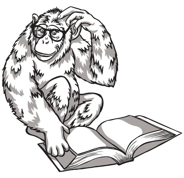 Czarno-biała małpa z książką. ilustracja wektorowa. symbole chińskiego nowego roku