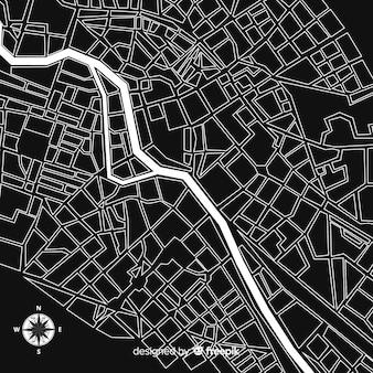 Czarno-biała mapa miasta z ulicami