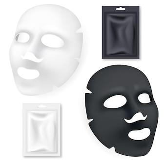 Czarno-biała maska kosmetyki do twarzy na białym tle