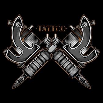 Czarno-biała maszyna do tatuażu wektorowego