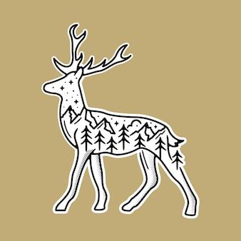 Czarno-biała naklejka ze schene wewnątrz jelenia.