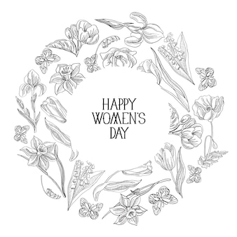 Czarno-biała okrągła ramka szkic skład kartka z życzeniami z wieloma obiektami wokół tekstu o dniu kobiet ozdobiony ilustracją wektorową kwiatów.