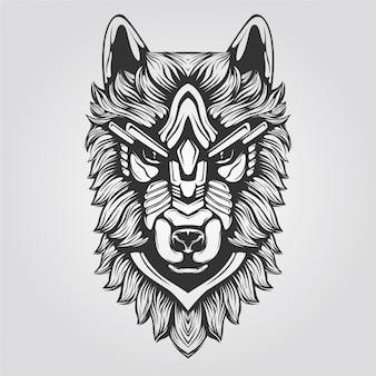 Czarno-biała ozdobna grafika liniowa wilka