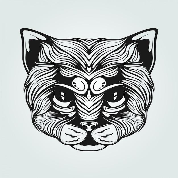 Czarno-biała ozdobna twarz kota