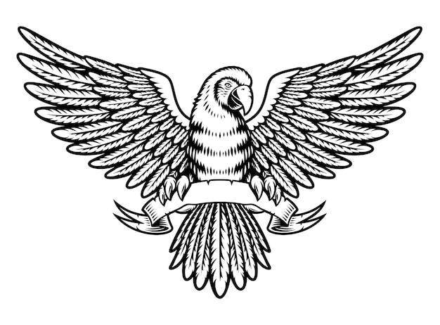 Czarno-biała papuga ara ze wstążką w stylu vintage