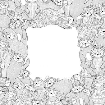 Czarno-biała rama z zabawnymi leniwcami. kolorowanki styl strony