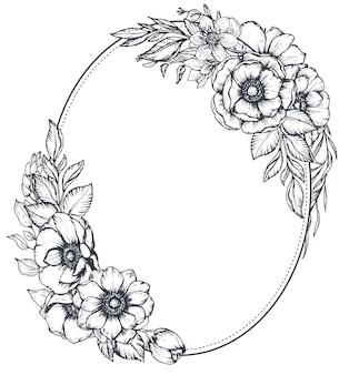 Czarno-biała ramka kwiatowy z bukietami ręcznie rysowane anemonowe kwiaty, pąki i liście w stylu szkicu.