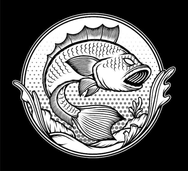 Czarno biała ryba ilustracja podwodna. wektor premium