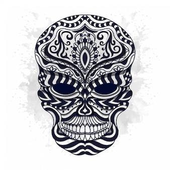 Czarno-biała stylizowana czaszka w etnicznym stylu wektorowym