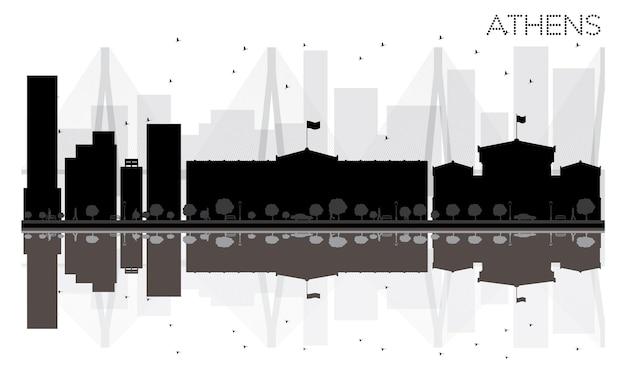 Czarno-biała sylwetka panoramę miasta ateny z odbiciami. ilustracja wektorowa. prosta koncepcja płaska do prezentacji turystyki, banera, afiszu lub strony internetowej. pejzaż miejski ze słynnymi zabytkami.