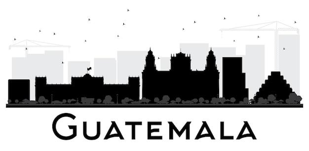 Czarno-biała sylwetka panoramę miasta gwatemala. ilustracja wektorowa. prosta koncepcja płaska do prezentacji turystyki, banera, afiszu lub strony internetowej. pejzaż miejski z zabytkami.