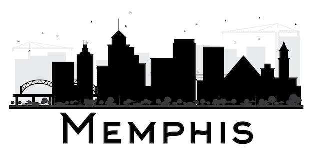 Czarno-biała sylwetka panoramę miasta memphis. ilustracja wektorowa. prosta koncepcja płaska do prezentacji turystyki, banera, afiszu lub strony internetowej. koncepcja podróży biznesowych. pejzaż miejski z zabytkami