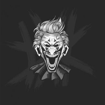 Czarno-biała twarz klauna jokera śmiejąca się na halloween