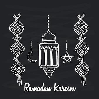 Czarno-białe doodle ramadan kareem uroczystości z latarnią i tekstem