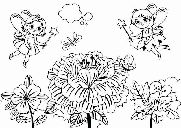 Czarno-białe dwie wróżki latające w pobliżu ilustracji wektorowych kwiatów