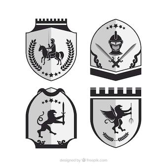 Czarno-białe emblematy rycerzy