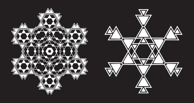 Czarno-białe fraktalne płatki śniegu