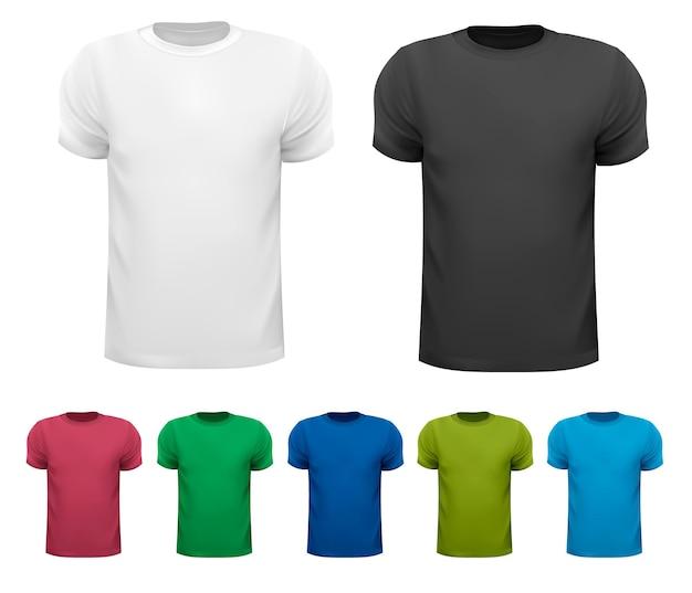 Czarno-białe i kolorowe męskie koszulki polo. szablon projektu.