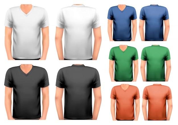 Czarno-białe i kolorowe męskie koszulki. szablon. .
