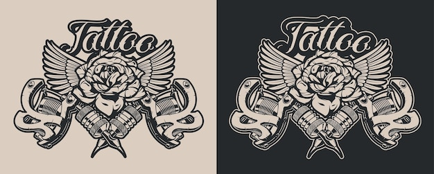 Czarno-białe ilustracje maszynki do tatuażu z różą i skrzydłami w stylu vintage. idealnie nadaje się do plakatów, projektowania koszulek, nadruków na tkaninach i wielu innych zastosowań. tekst w osobnej grupie