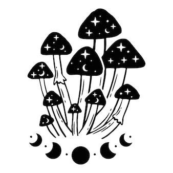Czarno-białe ilustracje z magicznymi grzybami i fazami księżyca.