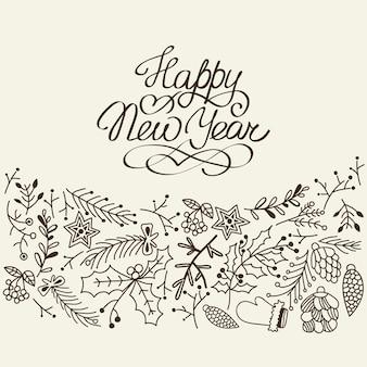 Czarno-białe karty szczęśliwego nowego roku