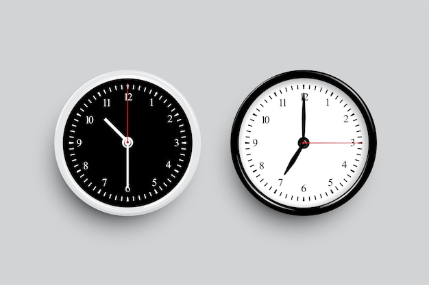 Czarno-białe klasyczne tarcze zegara. szablony zegara czarno-białe na białym tle na szarym tle.