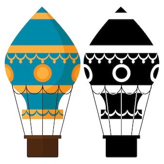 Czarno-białe, kolorowe wkładki douszne. ilustracja wektorowa balonów na ogrzane powietrze