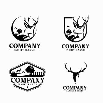 Czarno-białe logo rodzinnego rancza z jeleniem i drzewem