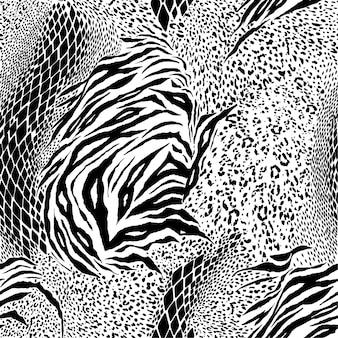 Czarno-białe mieszane druk zwierząt jednolite wektor wzór