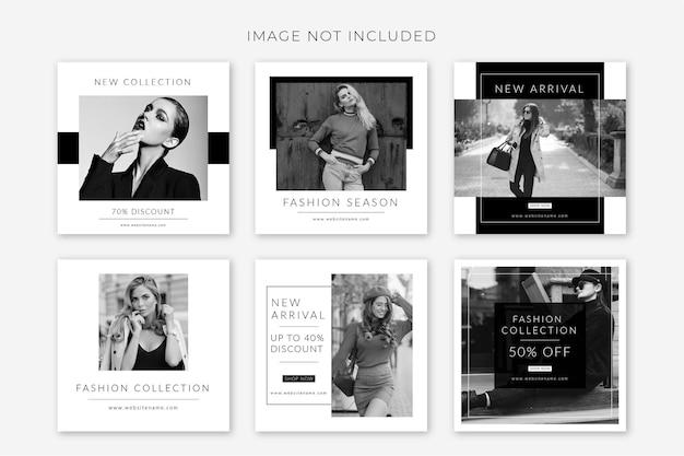 Czarno-białe modowe kolekcje postów w mediach społecznościowych