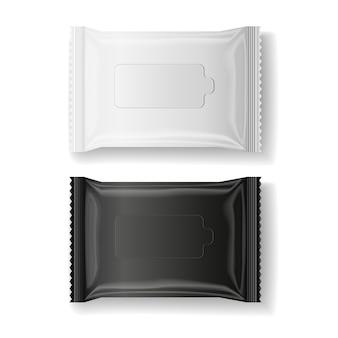 Czarno-białe mokre chusteczki pakiet realistyczny wektor