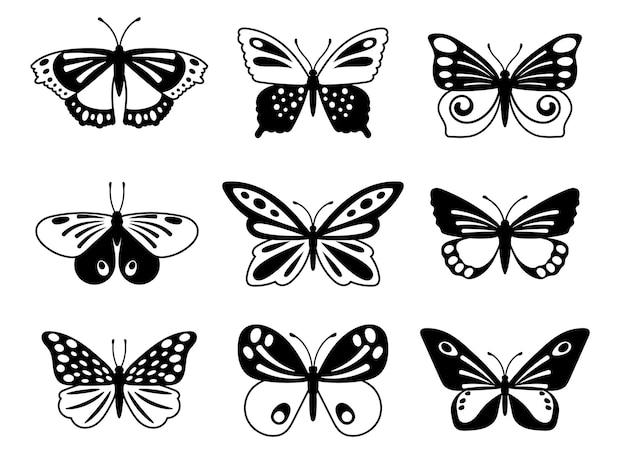Czarno-białe motyle.