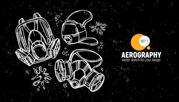 Czarno-białe narzędzia aerograficzne