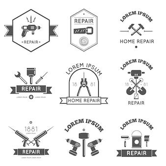 Czarno-białe narzędzia etykiety logo do naprawy i poprawy domu w ilustracji wektorowych kolor bw