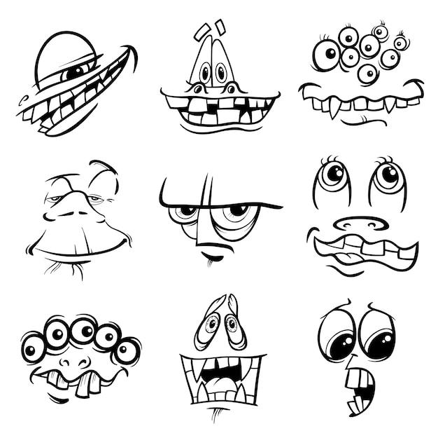 Czarno-białe postacie potworów