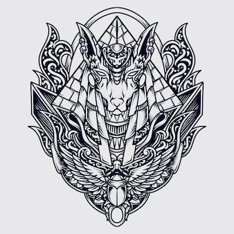 Czarno-białe ręcznie rysowane ilustracja anubis grawerowanie ornament