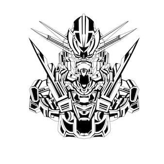 Czarno-białe ręcznie rysowane ilustracja mecha gundam robotyczne tatuaże