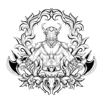 Czarno-białe ręcznie rysowane ilustracja minotaur grawerowanie ornament