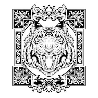 Czarno-białe ręcznie rysowane ilustracja ozdoba głowa tygrysa grawerowanie