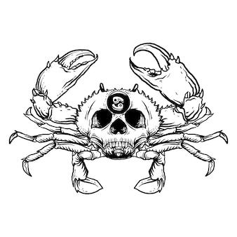 Czarno-białe ręcznie rysowane ilustracja rak czaszki zodiaku