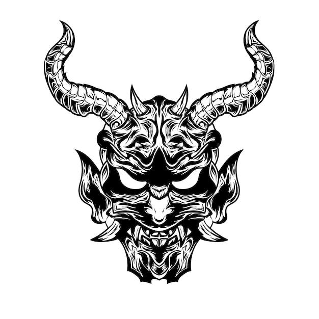 Czarno-białe ręcznie rysowane ilustracja tatuaże diabła szatana