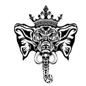 Czarno-białe ręcznie rysowane ilustracja tatuaże króla słonia