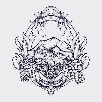 Czarno-białe ręcznie rysowane ilustracja żółw sulcata grawerowanie ornament